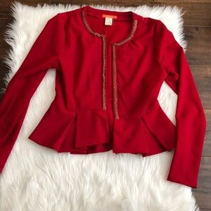 Red nice jacket with ruffles around bottom